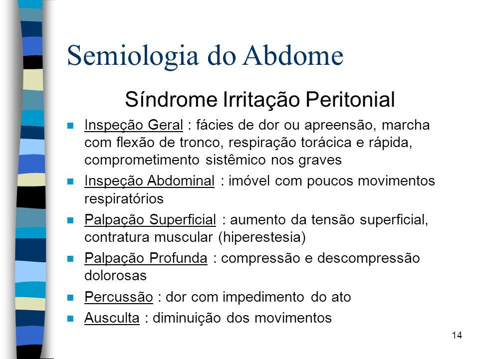 14 Semiologia do Abdome Síndrome Irritação Peritonial n Inspeção Geral : fácies de dor ou apreensão, marcha com flexão de tronco, respiração torácica