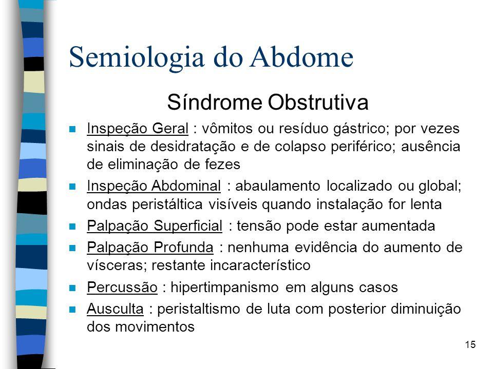 15 Semiologia do Abdome Síndrome Obstrutiva n Inspeção Geral : vômitos ou resíduo gástrico; por vezes sinais de desidratação e de colapso periférico;