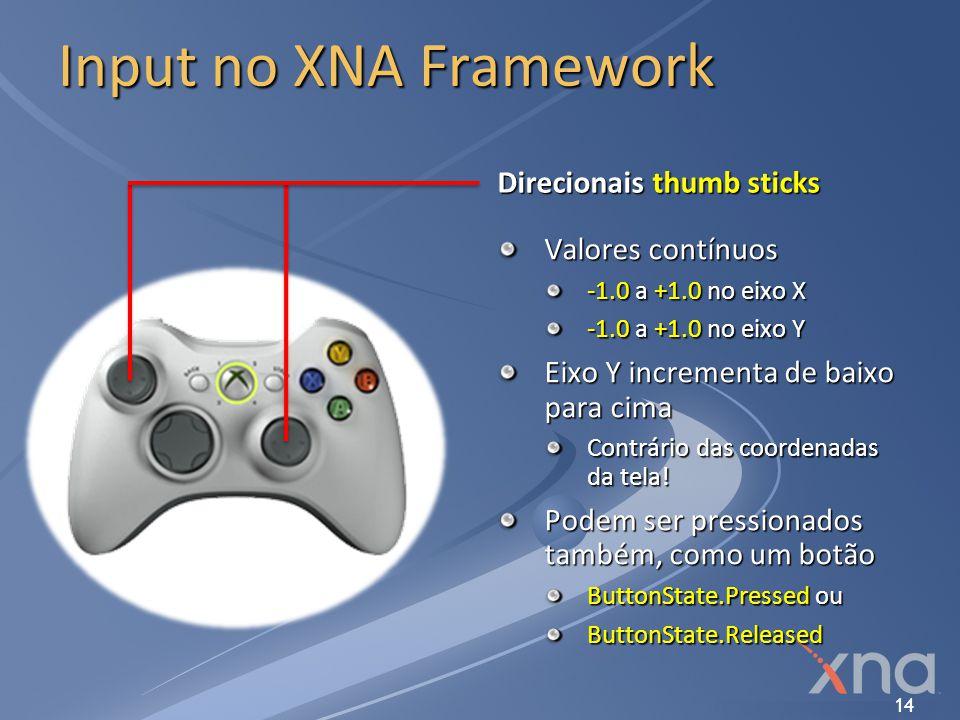 14 Input no XNA Framework Direcionais thumb sticks Valores contínuos -1.0 a +1.0 no eixo X -1.0 a +1.0 no eixo Y Eixo Y incrementa de baixo para cima