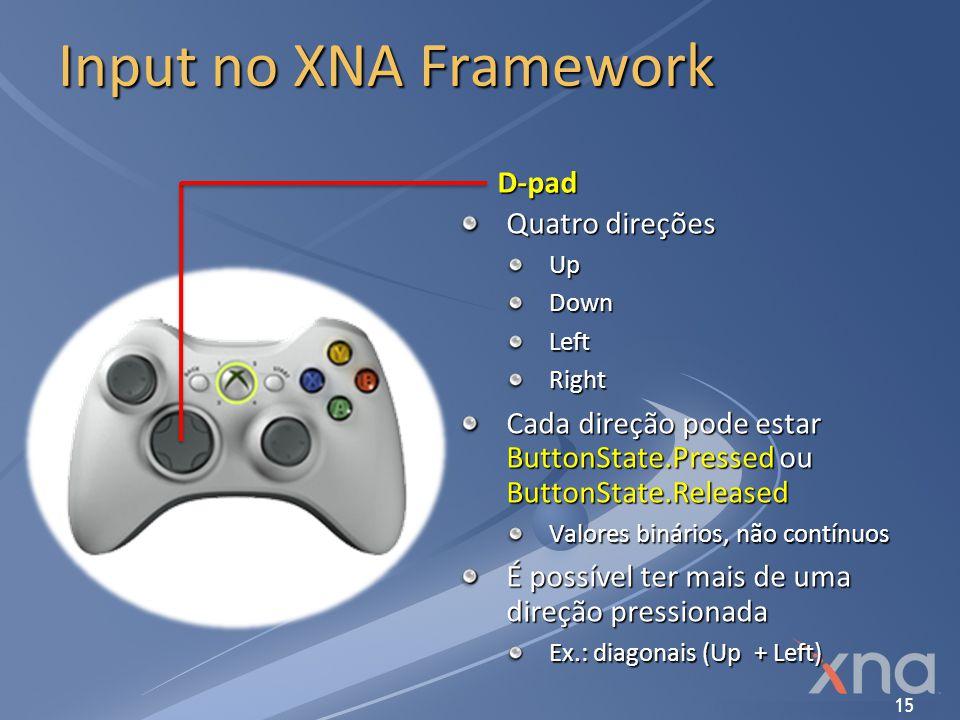 15 Input no XNA Framework D-pad Quatro direções UpDownLeftRight Cada direção pode estar ButtonState.Pressed ou ButtonState.Released Valores binários,