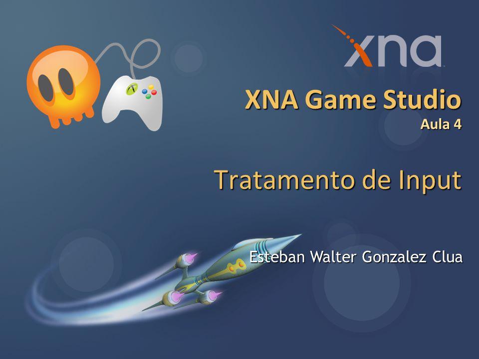 3 Agenda: Aula 4 Revisão Arquitetura de um programa XNA Tratamento de input do usuário Uso de classes de apoio para tratamento de input