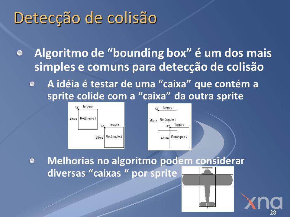 28 Detecção de colisão Algoritmo de bounding box é um dos mais simples e comuns para detecção de colisão A idéia é testar de uma caixa que contém a sp