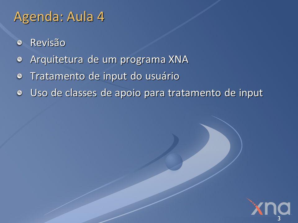 14 Input no XNA Framework Direcionais thumb sticks Valores contínuos -1.0 a +1.0 no eixo X -1.0 a +1.0 no eixo Y Eixo Y incrementa de baixo para cima Contrário das coordenadas da tela.