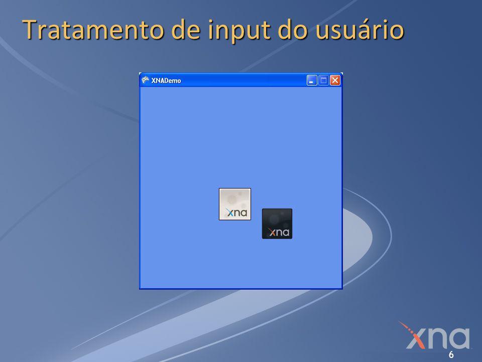 7 Input no XNA Framework O XNA Torna a obtenção do input do usuário extremamente fácil Suporte a Xbox 360 gamepad, guitarra, tambores, volantes, pedais, etc.