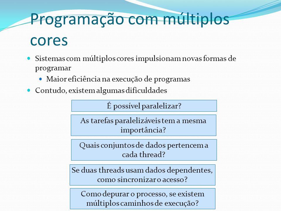 Programação com múltiplos cores Sistemas com múltiplos cores impulsionam novas formas de programar Maior eficiência na execução de programas Contudo,
