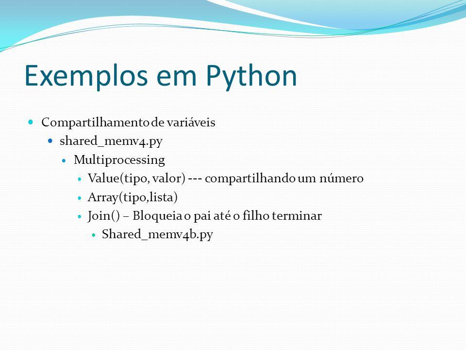 Exemplos em Python Compartilhamento de variáveis shared_memv4.py Multiprocessing Value(tipo, valor) --- compartilhando um número Array(tipo,lista) Joi