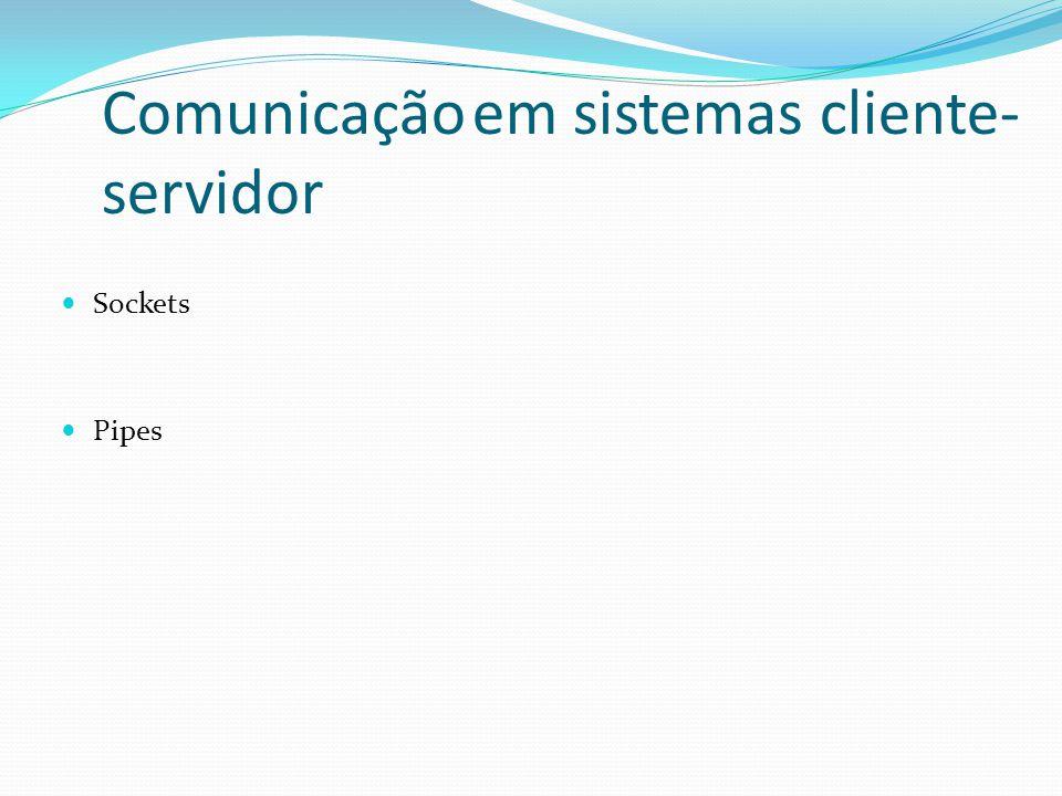 Comunicação em sistemas cliente- servidor Sockets Pipes