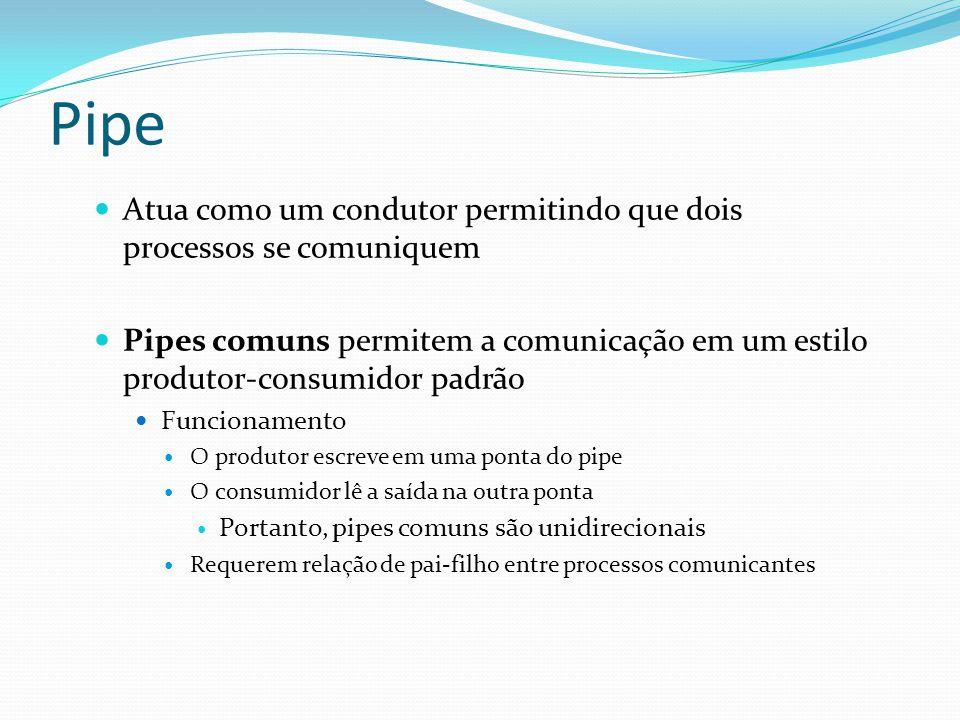 Pipe Atua como um condutor permitindo que dois processos se comuniquem Pipes comuns permitem a comunicação em um estilo produtor-consumidor padrão Fun