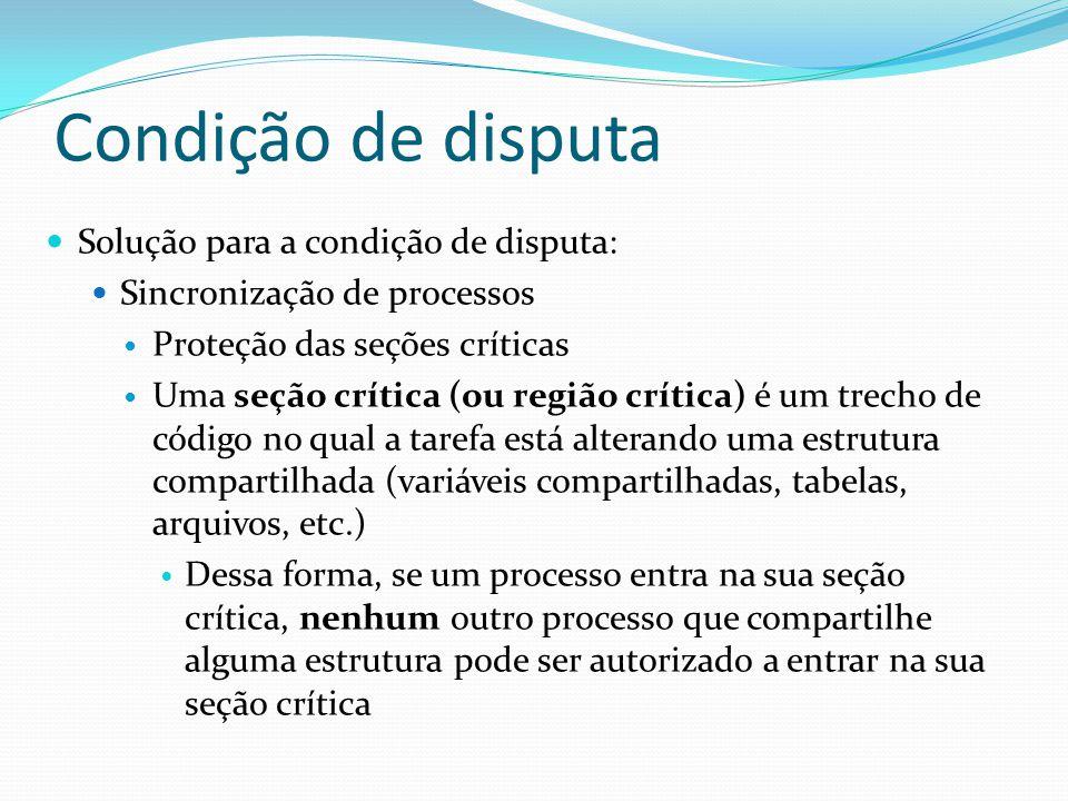 Condição de disputa Solução para a condição de disputa: Sincronização de processos Proteção das seções críticas Uma seção crítica (ou região crítica)