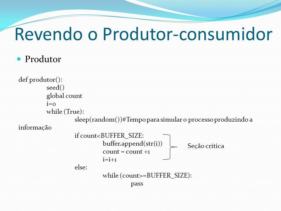 Revendo o Produtor-consumidor Produtor def produtor(): seed() global count i=0 while (True): sleep(random())#Tempo para simular o processo produzindo