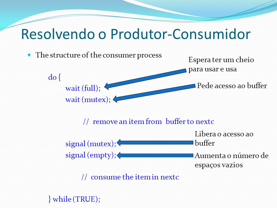 The structure of the consumer process do { wait (full); wait (mutex); // remove an item from buffer to nextc signal (mutex); signal (empty); // consum