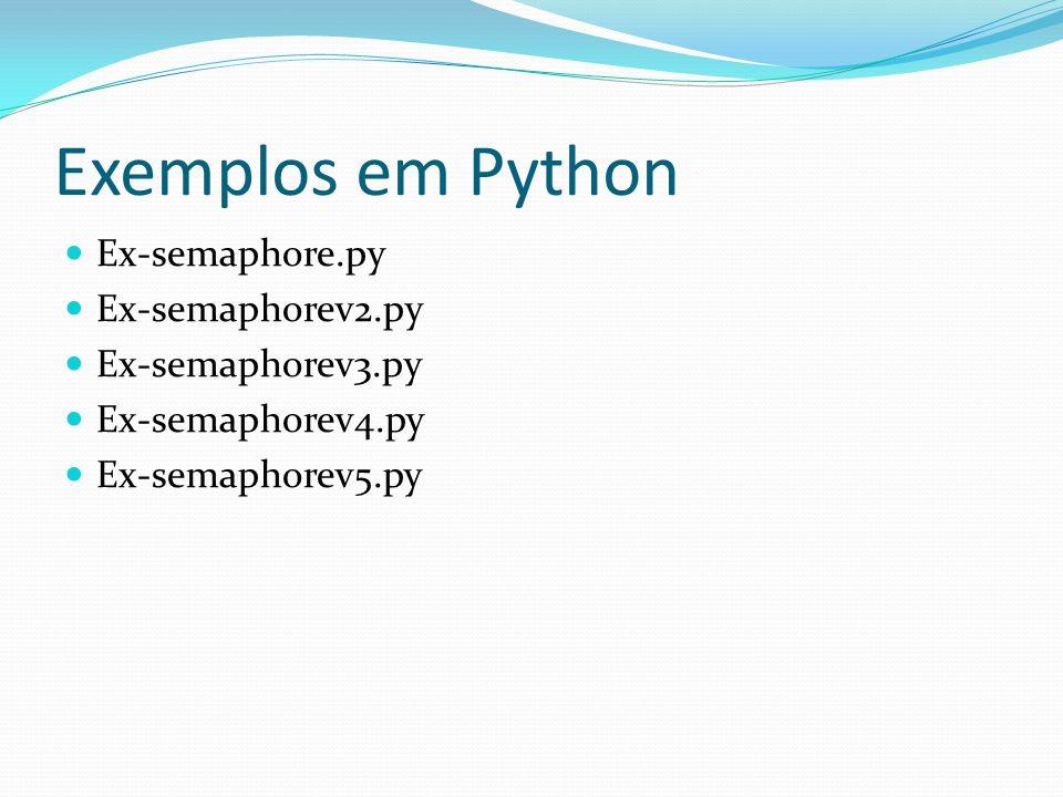 Exemplos em Python Ex-semaphore.py Ex-semaphorev2.py Ex-semaphorev3.py Ex-semaphorev4.py Ex-semaphorev5.py