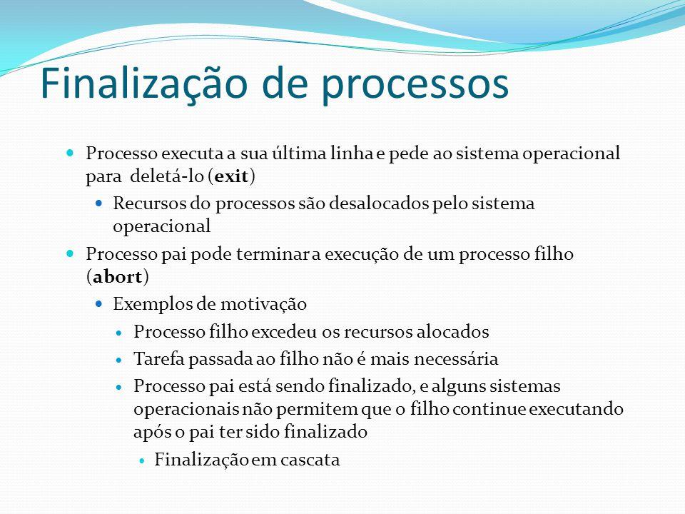 Finalização de processos Processo executa a sua última linha e pede ao sistema operacional para deletá-lo (exit) Recursos do processos são desalocados