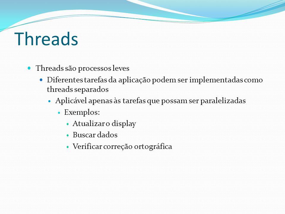 Threads Threads são processos leves Diferentes tarefas da aplicação podem ser implementadas como threads separados Aplicável apenas às tarefas que pos
