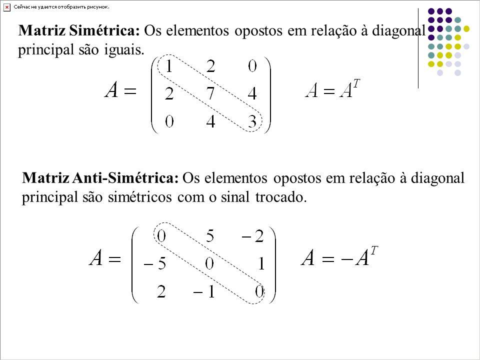 Matriz Anti-Simétrica: Os elementos opostos em relação à diagonal principal são simétricos com o sinal trocado. Matriz Simétrica: Os elementos opostos