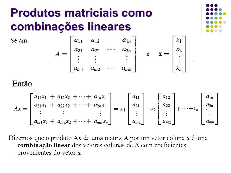 Sejam Dizemos que o produto Ax de uma matriz A por um vetor coluna x é uma combinação linear dos vetores colunas de A com coeficientes provenientes do