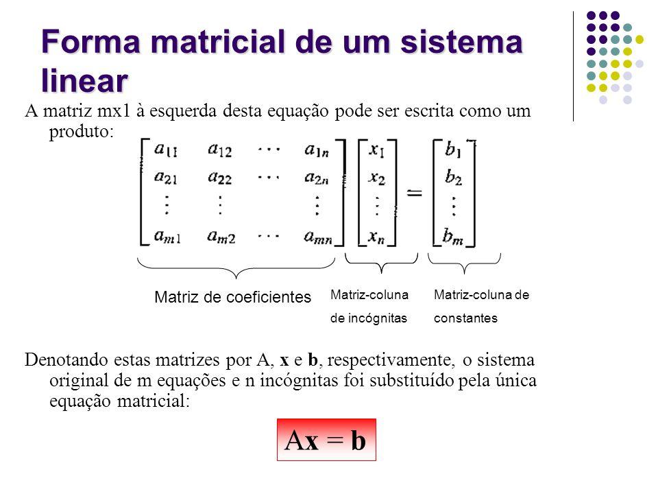 A matriz mx1 à esquerda desta equação pode ser escrita como um produto: Denotando estas matrizes por A, x e b, respectivamente, o sistema original de