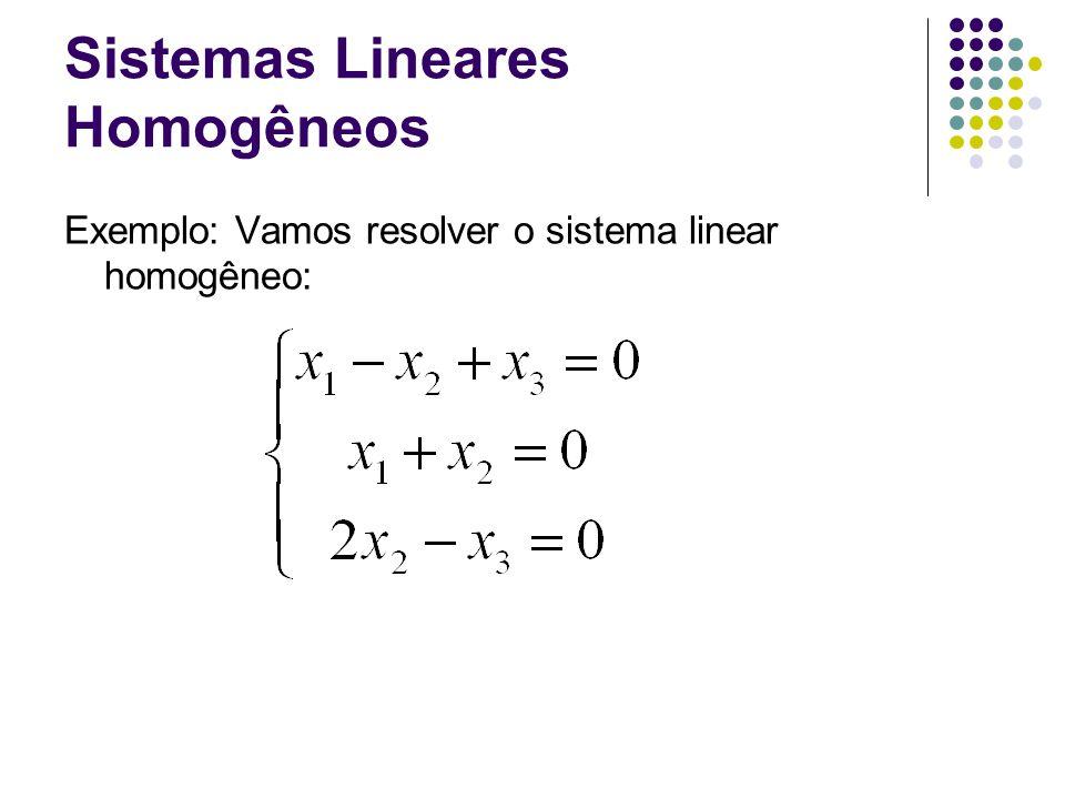 Sistemas Lineares Homogêneos Exemplo: Vamos resolver o sistema linear homogêneo: