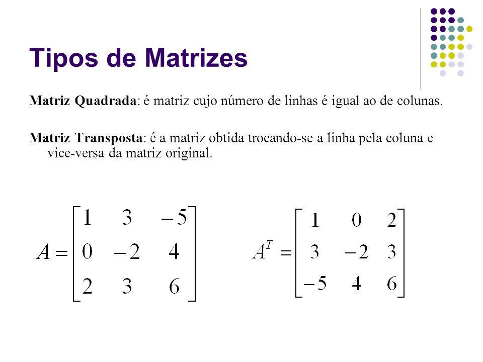 Tipos de Matrizes Matriz Quadrada: é matriz cujo número de linhas é igual ao de colunas. Matriz Transposta: é a matriz obtida trocando-se a linha pela