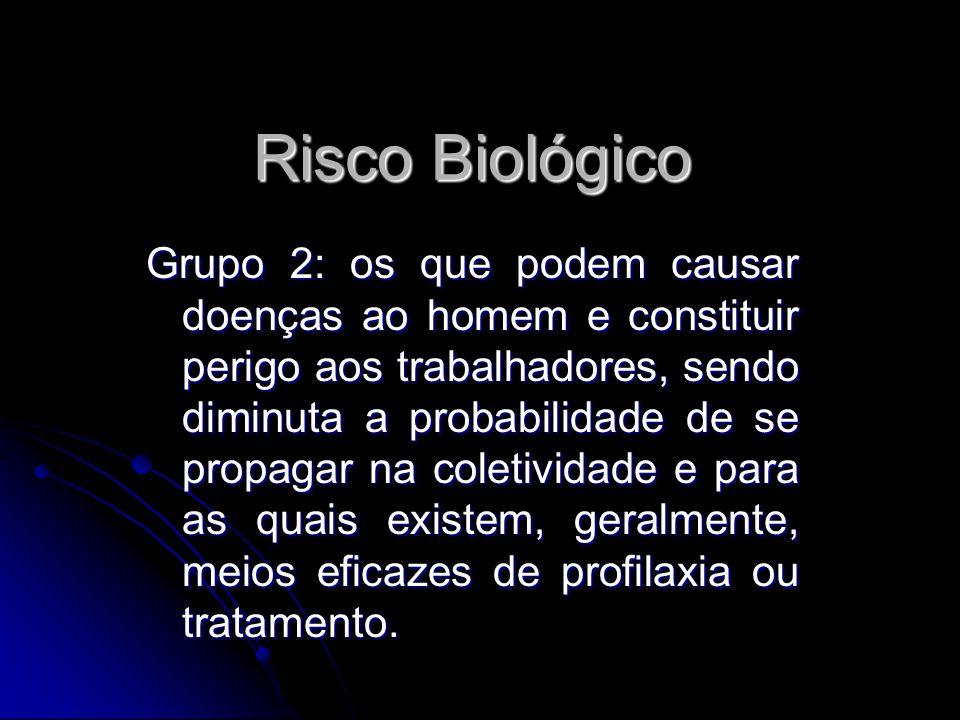 Risco Biológico Grupo 2: os que podem causar doenças ao homem e constituir perigo aos trabalhadores, sendo diminuta a probabilidade de se propagar na