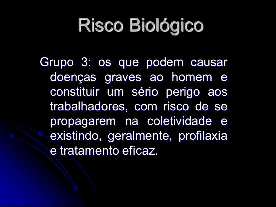 Risco Biológico Grupo 3: os que podem causar doenças graves ao homem e constituir um sério perigo aos trabalhadores, com risco de se propagarem na col