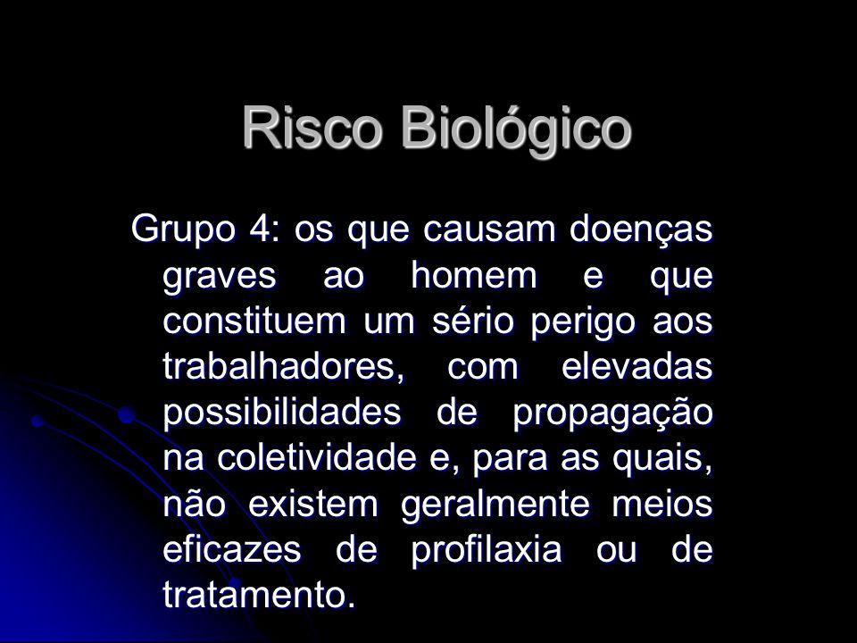 Risco Biológico Grupo 4: os que causam doenças graves ao homem e que constituem um sério perigo aos trabalhadores, com elevadas possibilidades de prop