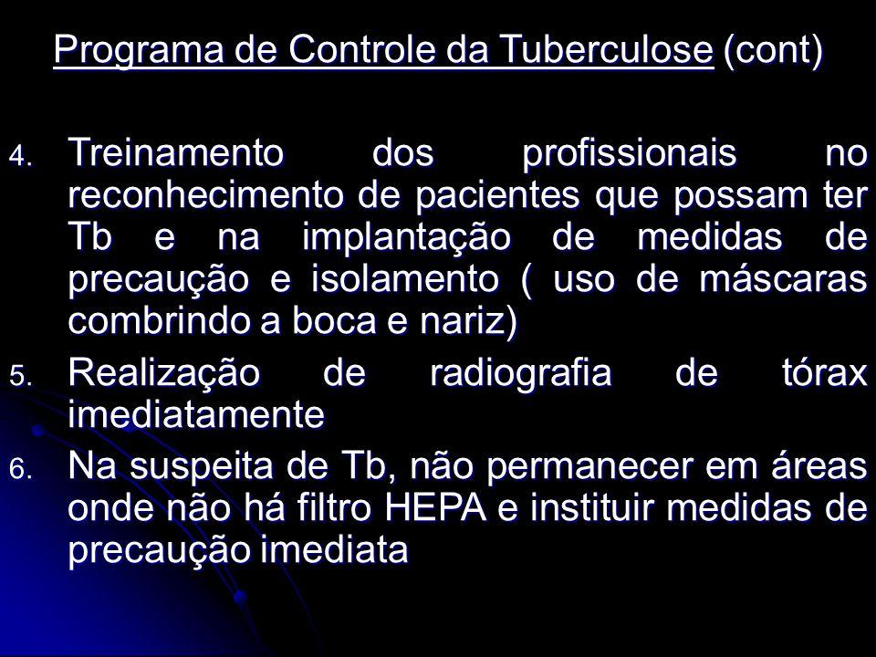 Programa de Controle da Tuberculose (cont) 4. Treinamento dos profissionais no reconhecimento de pacientes que possam ter Tb e na implantação de medid