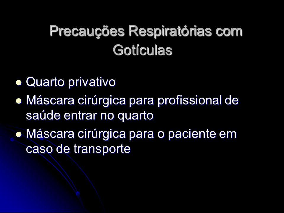 Precauções Respiratórias com Gotículas Precauções Respiratórias com Gotículas Quarto privativo Quarto privativo Máscara cirúrgica para profissional de