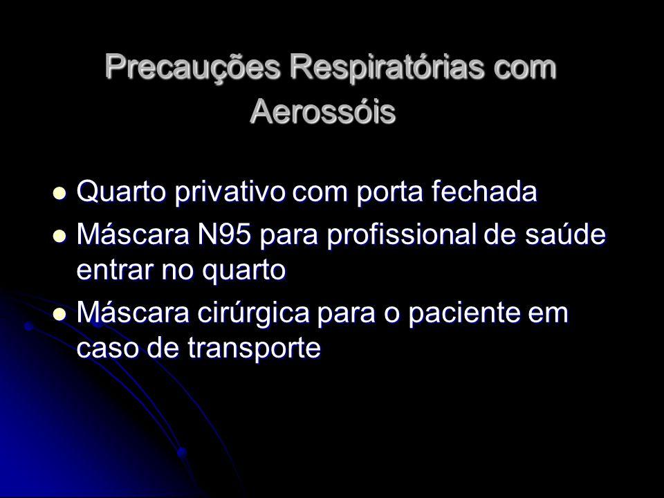 Precauções Respiratórias com Aerossóis Precauções Respiratórias com Aerossóis Quarto privativo com porta fechada Quarto privativo com porta fechada Má