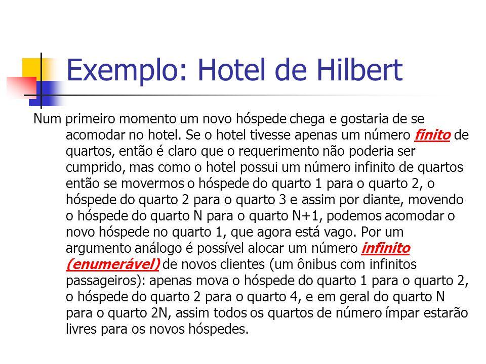 Exemplo: Hotel de Hilbert Num primeiro momento um novo hóspede chega e gostaria de se acomodar no hotel. Se o hotel tivesse apenas um número finito de
