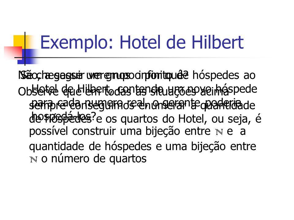 Se chegasse um grupo infinito de hóspedes ao Hotel de Hilbert, contendo um novo hóspede para cada numero real, o gerente poderia hospedá-los? Não, a s