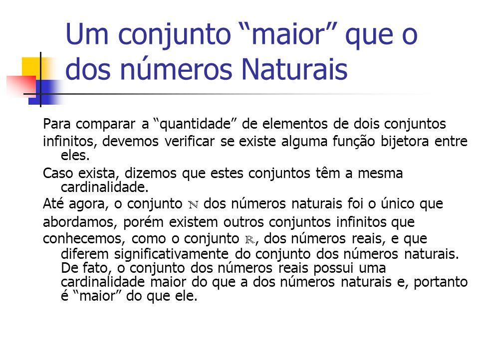 Um conjunto maior que o dos números Naturais Para comparar a quantidade de elementos de dois conjuntos infinitos, devemos verificar se existe alguma função bijetora entre eles.