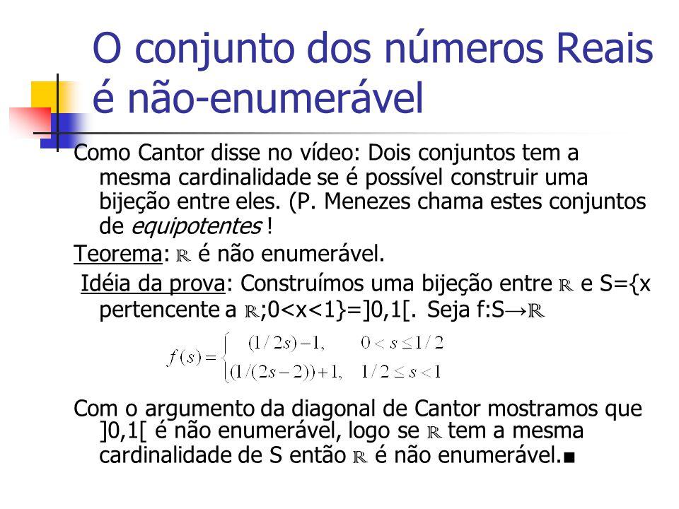 O conjunto dos números Reais é não-enumerável Como Cantor disse no vídeo: Dois conjuntos tem a mesma cardinalidade se é possível construir uma bijeção entre eles.