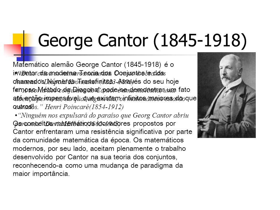 George Cantor (1845-1918) Matemático alemão George Cantor (1845-1918) é o inventor da moderna Teoria dos Conjuntos e dos chamados Números Transfinitos.