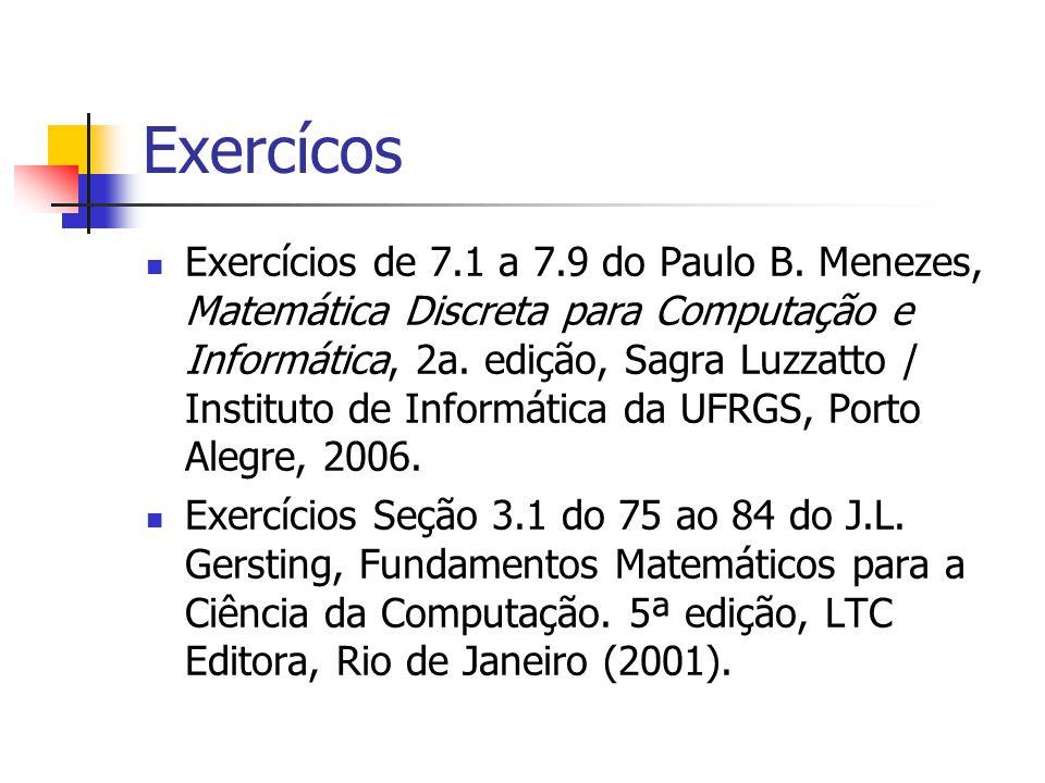 Exercícos Exercícios de 7.1 a 7.9 do Paulo B. Menezes, Matemática Discreta para Computação e Informática, 2a. edição, Sagra Luzzatto / Instituto de In