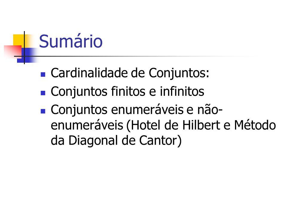 Sumário Cardinalidade de Conjuntos: Conjuntos finitos e infinitos Conjuntos enumeráveis e não- enumeráveis (Hotel de Hilbert e Método da Diagonal de C