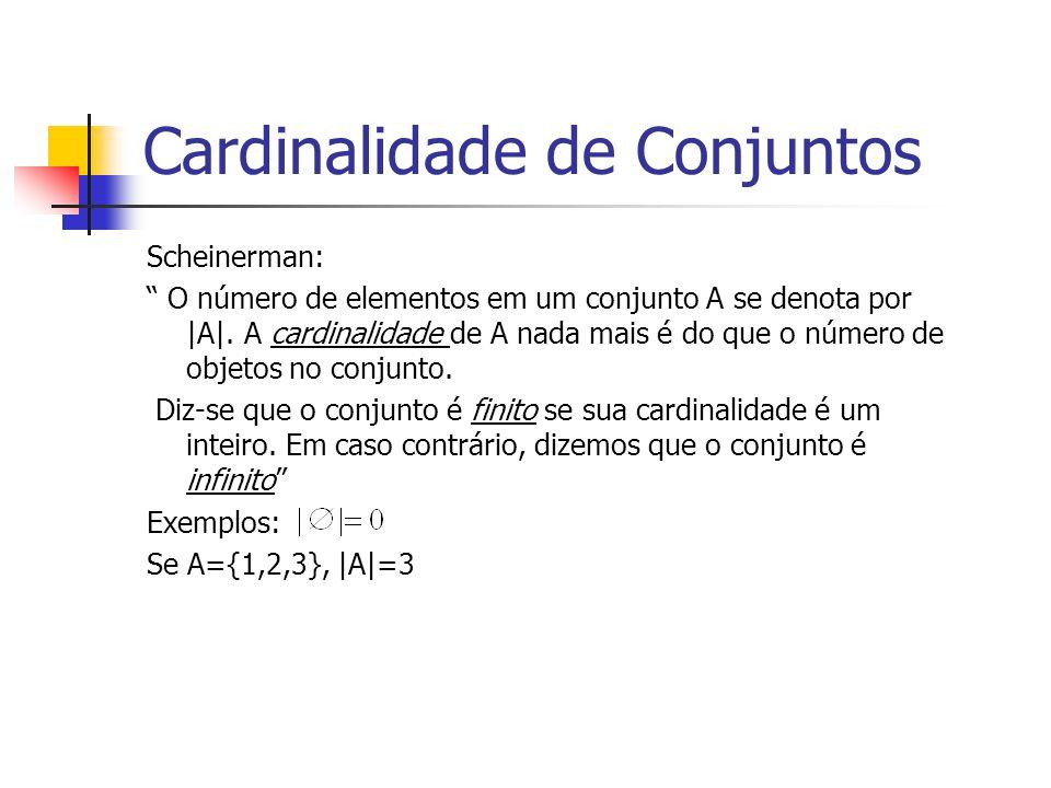Cardinalidade de Conjuntos Scheinerman: O número de elementos em um conjunto A se denota por |A|. A cardinalidade de A nada mais é do que o número de