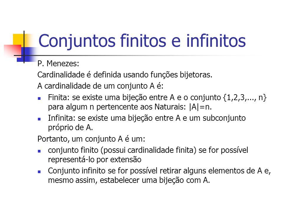 Conjuntos finitos e infinitos P. Menezes: Cardinalidade é definida usando funções bijetoras. A cardinalidade de um conjunto A é: Finita: se existe uma