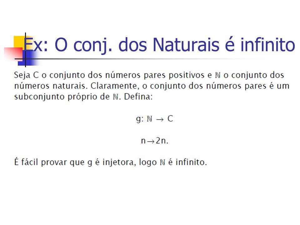Ex: O conj. dos Naturais é infinito