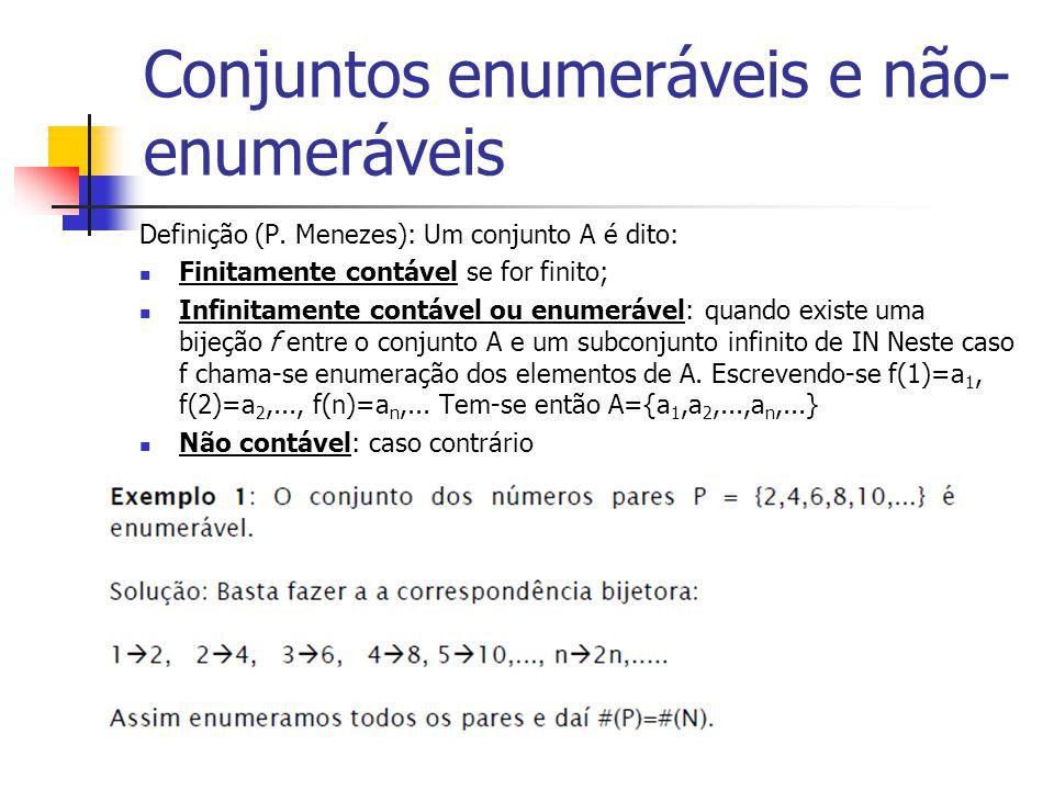 Conjuntos enumeráveis e não- enumeráveis Definição (P. Menezes): Um conjunto A é dito: Finitamente contável se for finito; Infinitamente contável ou e