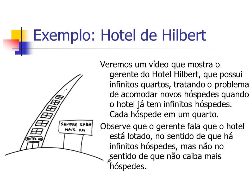 Exemplo: Hotel de Hilbert Veremos um vídeo que mostra o gerente do Hotel Hilbert, que possui infinitos quartos, tratando o problema de acomodar novos hóspedes quando o hotel já tem infinitos hóspedes.