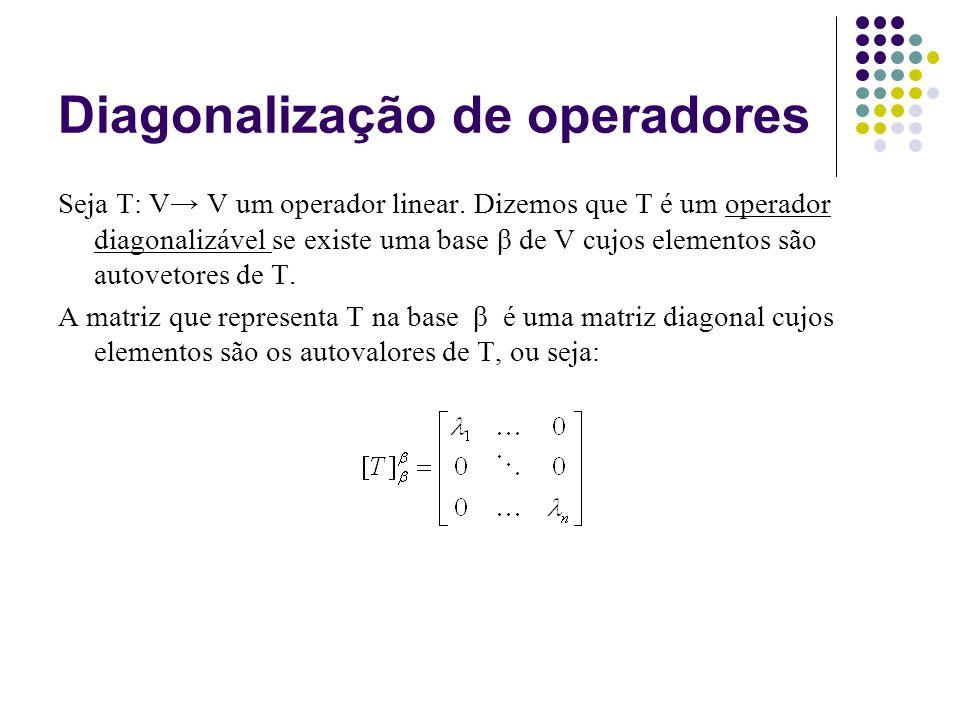 Diagonalização de operadores Seja T: V V um operador linear. Dizemos que T é um operador diagonalizável se existe uma base β de V cujos elementos são