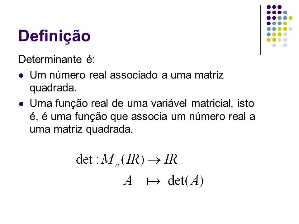 Definição Determinante é: Um número real associado a uma matriz quadrada.