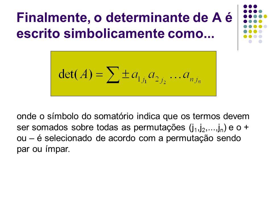 Exemplo: determinante de ordem 3 Regra de Sarrus: