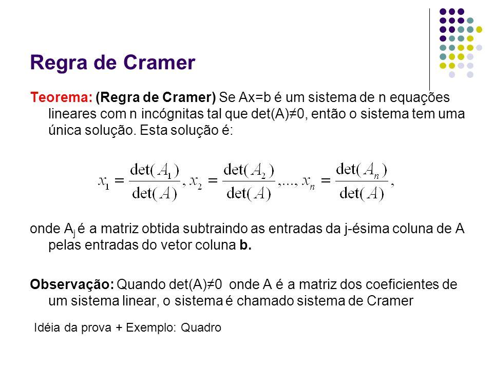 Regra de Cramer Teorema: (Regra de Cramer) Se Ax=b é um sistema de n equações lineares com n incógnitas tal que det(A)0, então o sistema tem uma única