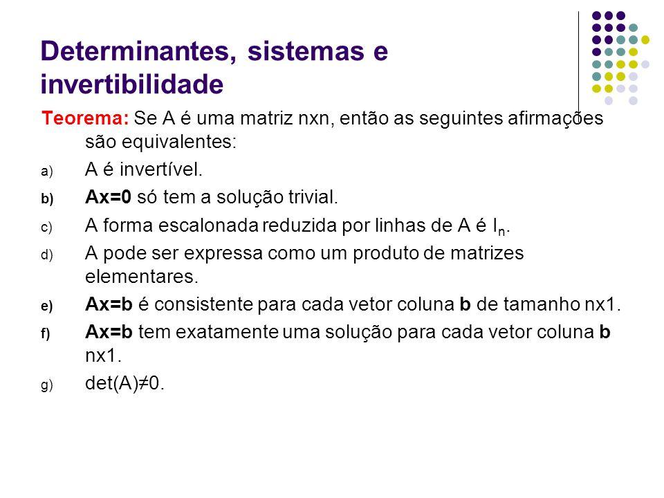 Determinantes, sistemas e invertibilidade Teorema: Se A é uma matriz nxn, então as seguintes afirmações são equivalentes: a) A é invertível. b) Ax=0 s