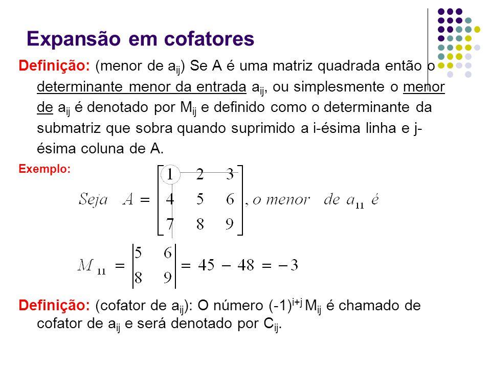 Expansão em cofatores Definição: (menor de a ij ) Se A é uma matriz quadrada então o determinante menor da entrada a ij, ou simplesmente o menor de a