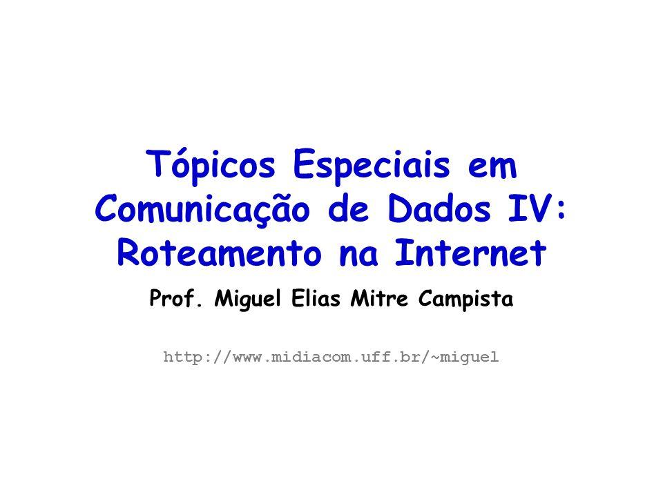 Tópicos Especiais em Roteamento na Internet – TET/UFF Professor Miguel Campista Endereços Unicast Formatos Especiais –Unspecified Endereço utilizado quando a estação não possui endereço configurado Endereço todo em 0s –0:0:0:0:0:0:0:0 ou simplesmente :: –Loopback Endereço para testes da interface –0:0:0:0:0:0:0:1 –IPv4-based Endereço IPv6 prefixado por um endereço IPv4