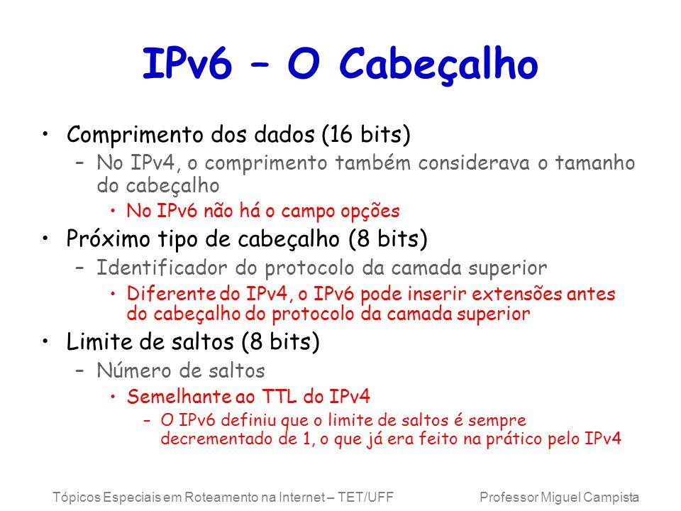 Tópicos Especiais em Roteamento na Internet – TET/UFF Professor Miguel Campista IPv6 – O Cabeçalho Comprimento dos dados (16 bits) –No IPv4, o comprimento também considerava o tamanho do cabeçalho No IPv6 não há o campo opções Próximo tipo de cabeçalho (8 bits) –Identificador do protocolo da camada superior Diferente do IPv4, o IPv6 pode inserir extensões antes do cabeçalho do protocolo da camada superior Limite de saltos (8 bits) –Número de saltos Semelhante ao TTL do IPv4 –O IPv6 definiu que o limite de saltos é sempre decrementado de 1, o que já era feito na prático pelo IPv4