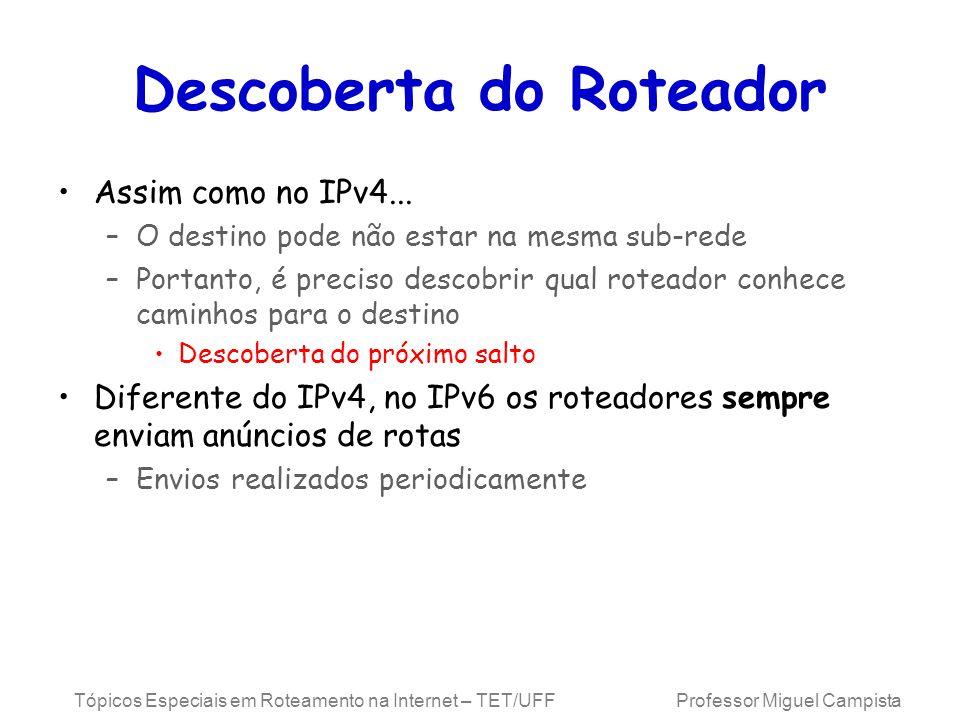 Tópicos Especiais em Roteamento na Internet – TET/UFF Professor Miguel Campista Descoberta do Roteador Assim como no IPv4...